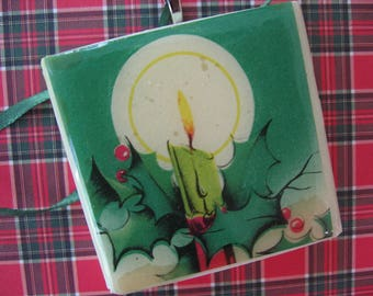 "Handcrafted Tile Christmas Tree Ornament 2"" x 2"", Holiday Papers on White Ceramic Tile, Made by Me"