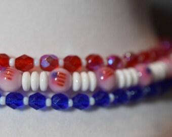 Tri-strand patriotic choker