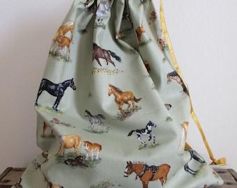PE Bag, Horse Lovers,  Drawstring Bag, Sports Bag, Tidy Bag, Book bag, Personalised, school bag, swimming bag, gym bag, Ballet Bag. PJ Bag