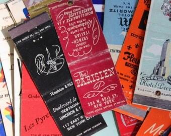 Vintage FRENCH RESTAURANT & HOTEL Matchbook Covers, Vintage Travel/Food Ephemera, Retro Advertising - 25+ Pieces