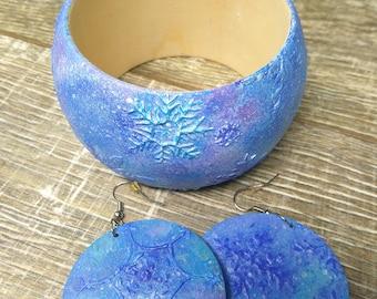 PREORDER!!!Winter Jewellery set-Christmas Wood bangle bracelet-Winter set earrings and bracelet-Winter gift-Woomens fashion-New year jewelry