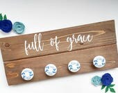 Rosary holder, jewelry holder, full of grace quote, Catholic rosary holder, unique knobs