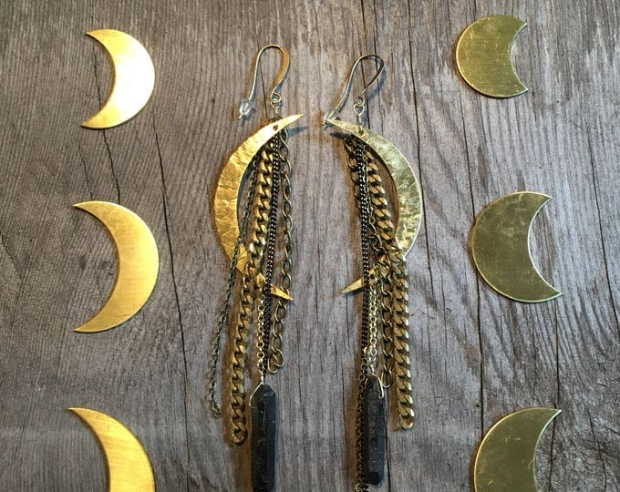 Witching Hour Black Crystal Moon Long Tassel Earrings