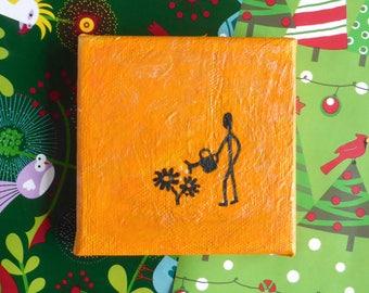 Orange Flower Gardener mini painting, quirky art, Christmas gift, fun gift, gardening gift, optional mini display easel