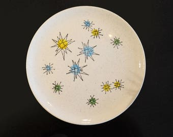 "Vintage Les Etoiles Starburst Plate, Franciscan 10"" diameter, Hand-Painted Stars French Atomic Pattern"