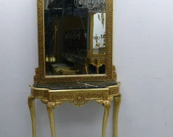 Mirror console Baroque with marble top black AwKs0184Sw