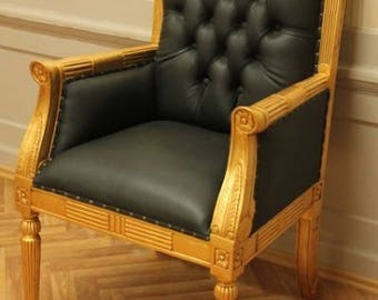 Baroque Armlehner Office Chair black leather antique style MjCh10054go