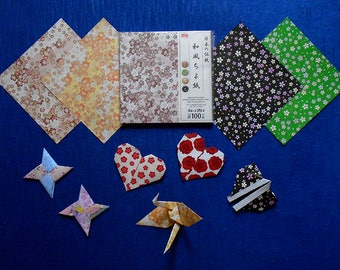 100 Origami Papers with patterns of Japanese Plum Flowers UME & Japanese Cherry Blossom Flowers SAKURA with Japanese Origami Art Works