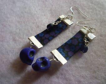 Dark blue skull earrings