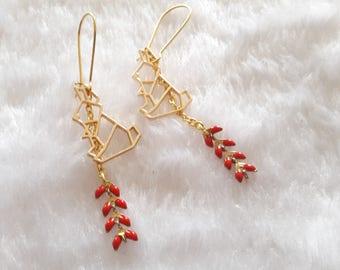 Golden red origami rabbit earrings