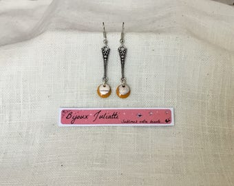 Long earrings, mustard yellow sequin and silver sequin