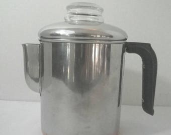 VTG Revere Ware 1801 Copper Clad Stainless Stove Top Coffee Pot Percolator~2363973~