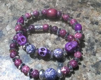 Purple Duo Skull Bracelets