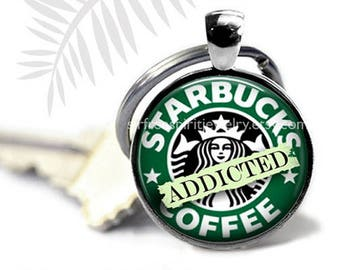 Coffee Humor Keychain, Photo image Keychain, Starbucks Addition, Coffee Drinkers Gift, Gift for coffee lovers, Accessory,
