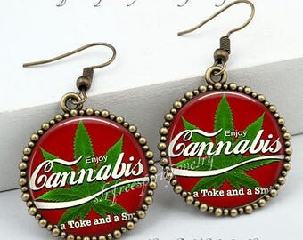Pot Humor, Enjoy Cannabis Earrings, Legal Cannabis, Medical Marijuana, Smoke, Weed, Pot, Pot Gift, Recreational, Washington, Colorado