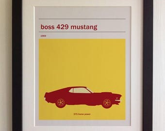 FRAMED Boss 429 Mustang Print - Black/White Frame, Birthday, Anniversary, Father's Day, Christmas, Fab Picture Gift