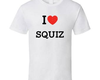 I Love Heart Squiz First Name Worn Look T Shirt