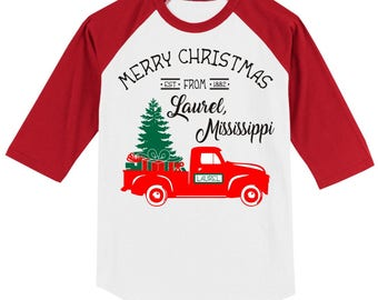 Personalized Christmas Vintage Truck T Shirt 3/4 slv Raglan Merry Christmas from your city, state, Est. date, several sleeve color option