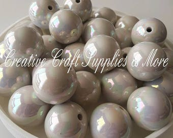 Shiny white solid 20mm chunky beads- DIY bubblegum necklace kit- DIY chunky necklace kit- chunky beads- solid color beads-valentines-pastel