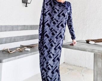 Long Sleeve Dress / Maxi Dress / Winter Dress / Print Dress / Plus Size Dress / Loose Dress / Everyday dress / Oversized / #35176