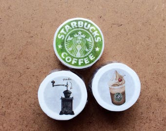 Whole Roll - Coffee Lovers Washi Tapes - 3 rolls a set