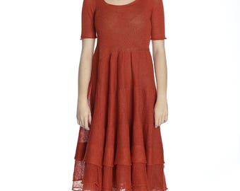 The hot price. Transparent poppy red linen dress, S/M size.