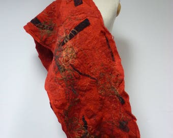The hot price. Boho red felted shawl. Perfect for Winter gift.