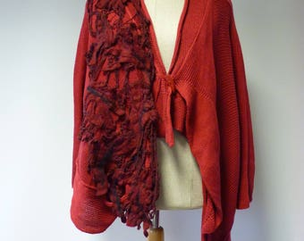 Amazing rose cotton cardigan with felted decoration, L size.