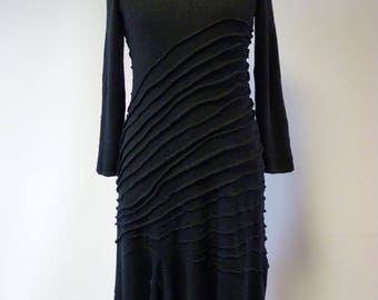 Casual knitted black linen dress, L size.