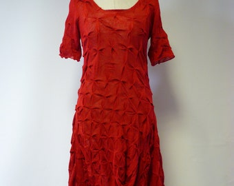 Special price. Artsy red linen dress, M size.