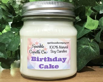 BIRTHDAY CAKE SOY Candle - Hand Poured Candle - Scented Soy Candle - 8 oz. Mason Jar - Gift - Vanilla Candle