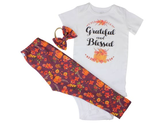Fall Leggings Grateful and Blessed Bodysuit Thanksgiving Baby Outfit Pumpkin Outfit Fall Floral Pumpkin Leggings Baby Gift Top Knot Headband