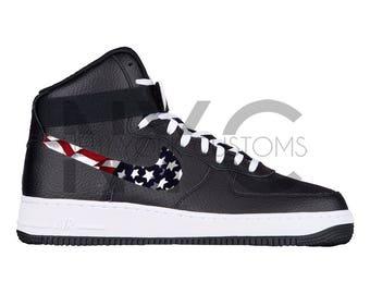 American Flag Nike Air Force 1 High Top Black White Custom Men