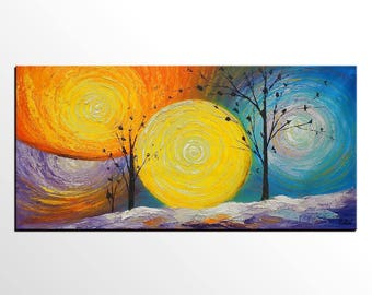 Oil Painting Canvas, Landscape Art Painting, Canvas Art, Tree of Life Painting, Abstract Art Painting, Dining Room Wall Art, Canvas Painting
