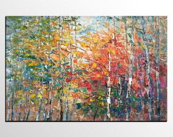Landscape Oil Painting, Canvas Artwork, Original Wall Art, Modern Art Painting, Autumn Tree Art Painting, Heavy Texture Oil Painting