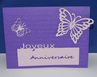 Purple and Purple Butterfly birthday card