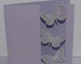 Hanging butterflies wedding invitation