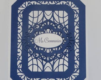 Noble lace frame communion card