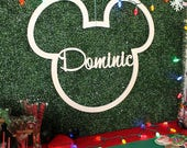Mickey Mouse Birthday Sign - Custom Name - Mickey Mouse Sign - Name Nursery Wall Hanging 1st Birthday Sign Party Decor - Backdrop Sign