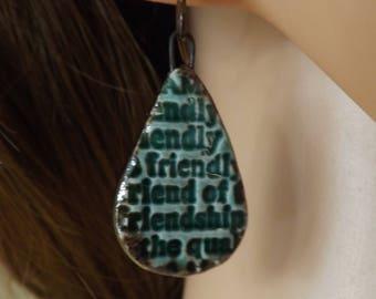 Friend earrings, green ceramic earrings, green earrings, drop earrings, ceramic earrings, patterned ceramic earrings, ceramic jewellery