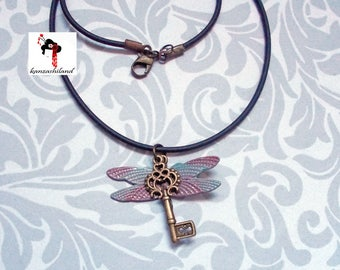 Bronze-Key Dragonfly Pendant