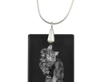 Norwegian Forest cat, cat Crystal Pendant, SIlver Necklace 925, High Quality, Exceptional Gift, Collection!