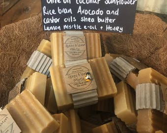 FREE POST 5 x Olive Oil Honey & Lemon Myrtle soaps. Natural Handmade Soap. NO Palm perfect gift