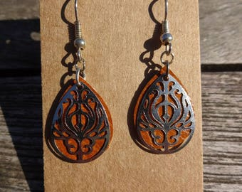 Camel brown leather and silver filigree drop earrings