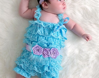 Blue Baby Girl Romper, Petti Romper with Sash, Lace Ruffled Romper, Baby Photography Prop