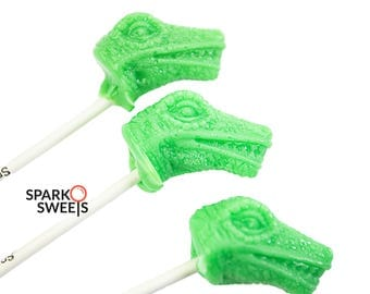 T-Rex Dinosaur Heads Lollipops Green Apple Flavor, Handcrafted, 6 Pieces