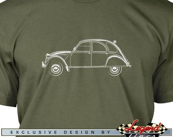 Citroen 2CV Deux Chevaux T-Shirt for Men - Lights of Art - Multiple colors available - Size: S - 3XL - Great French Classic Car Gift