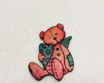 Teddy bear Wood button for patchwork and crafts