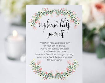 A4 Floral Berry Wedding/Party Toiletries/Bathroom sign-spoil your guests!