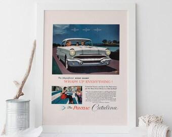 PONTIAC CATALINA AD -  Vintage Pontiac Car Poster - Quality Reproduction, Garage Decor, Hot Wheels, Car Lover, Retro Car Poster